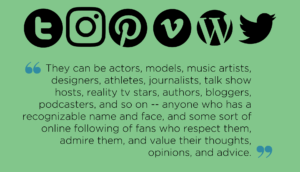 "Top of images shows icons for a variety of social media platforms including Tumblr, Instagram, Pinterest, Vimeo, WordPress, and Twitter. Below, a quote from the article reads: ""They can be actors, models, music artists, designers, athletes, journalists, talk show hosts, reality tv stars, authors, bloggers, podcasters, and so on -- anyone who has a recognizable name and face, and some sort of online following of fans who respect them, admire them, and value their thoughts, opinions, and advice."""