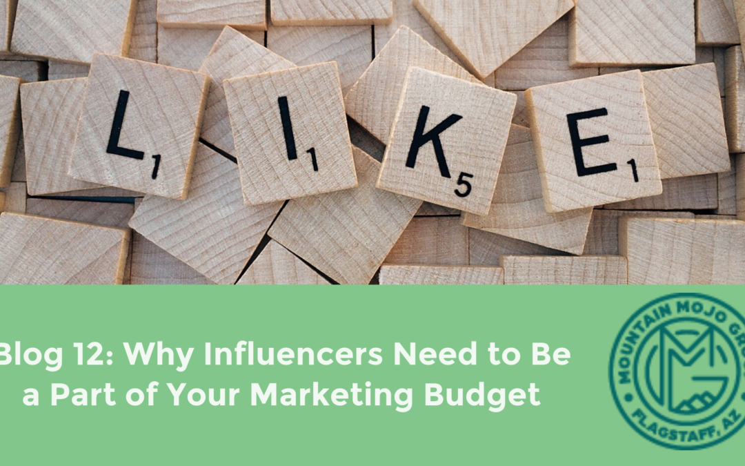 "Background of beige Scrabble letter pieces spelling out the word ""like"" sit above banner reading: ""Blog 12: Why Influencers Need to Be a Part of Your Marketing Budget"""