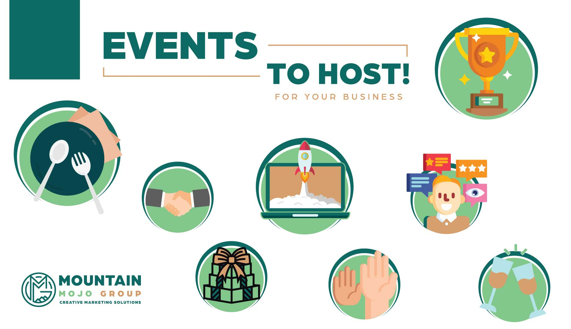 This image provides icons that represent various event themes for clients including food services, meet and greets, gift exchange, and award ceremonies.